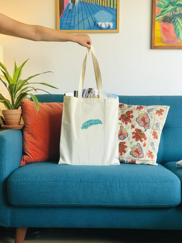 Photo of canvas tote bag with cavolo nero print