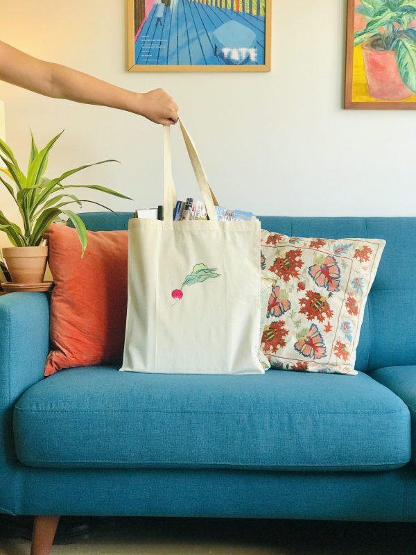 Photo of canvas tote bag with radish print