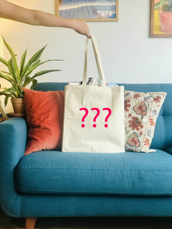 Blank tote with pink question marks suggesting you can get anything printed